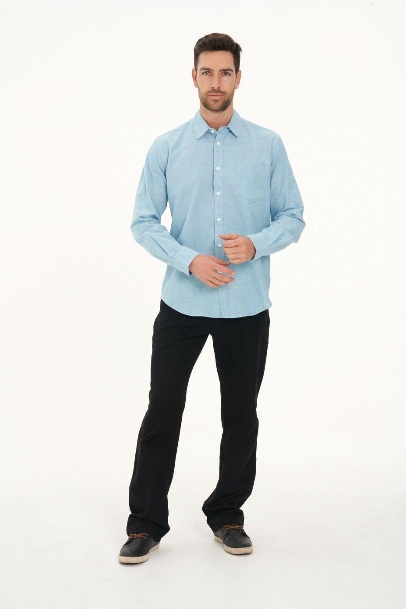 Men's Hemp Cotton Gingham Shirt-Blue