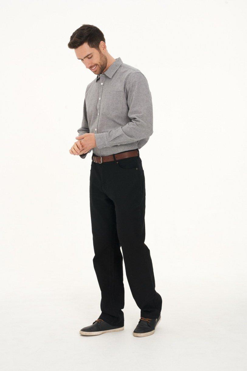 Men's Hemp Cotton Gingham Shirt-Charcoal