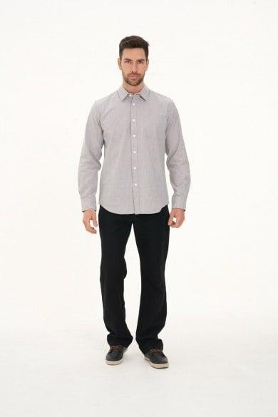 Men's Hemp Cotton Gingham Shirt-Grey