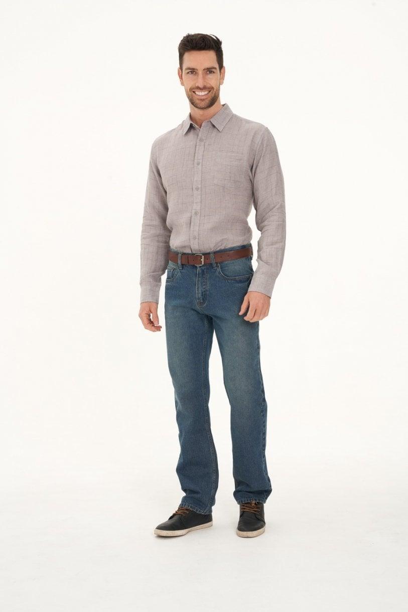 Men's 100% Hemp Check Shirt-Grey