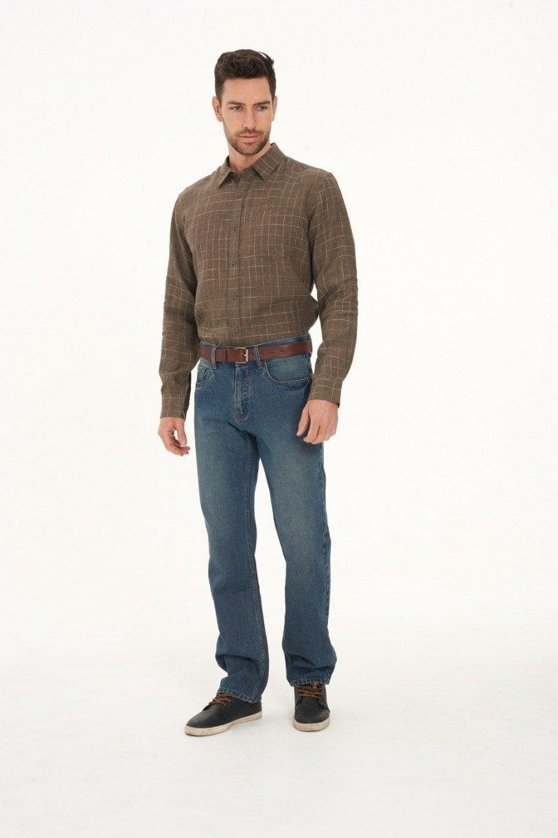 Men's 100% Hemp Check Shirt-Khaki
