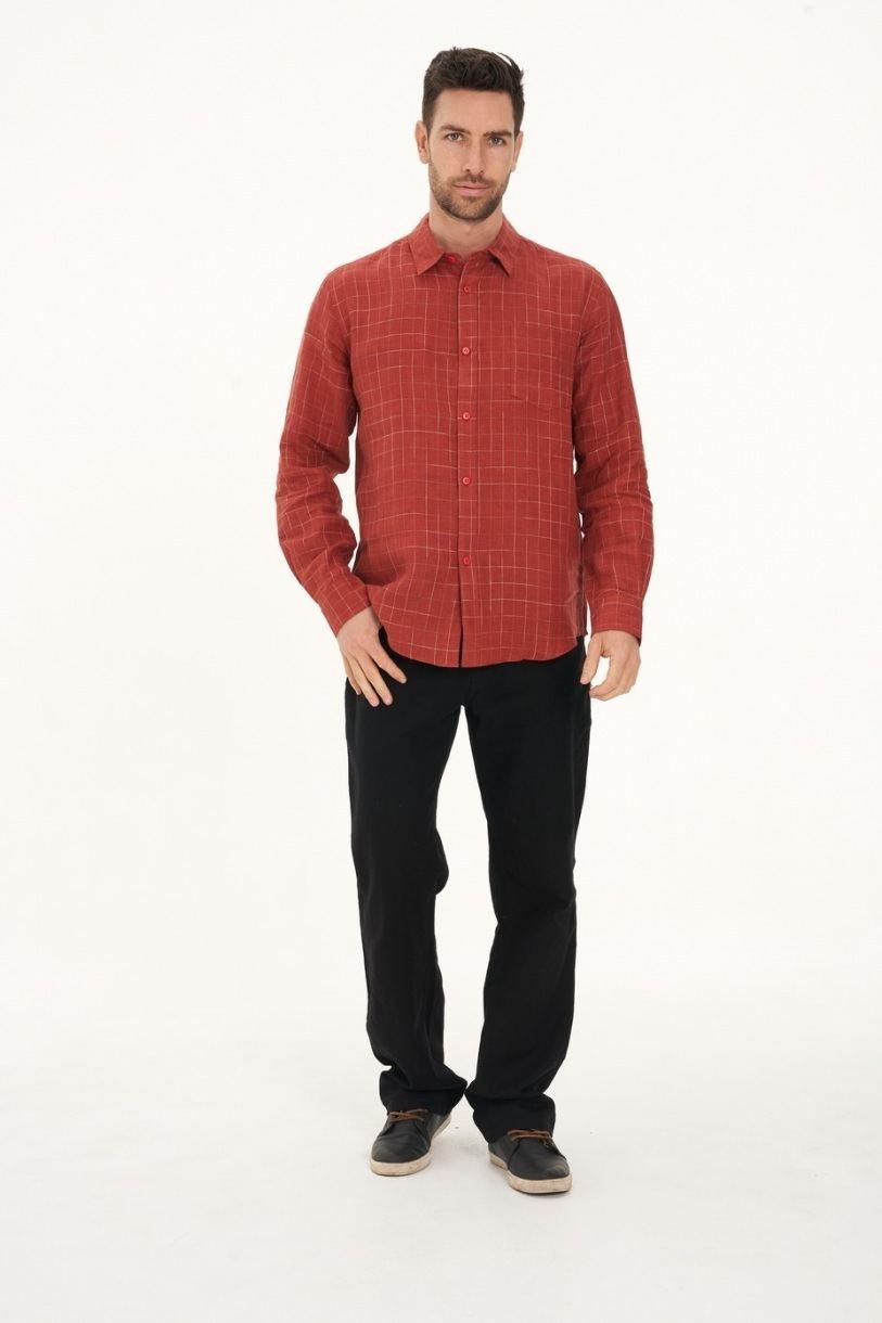 Men's 100% Hemp Check Shirt-Red