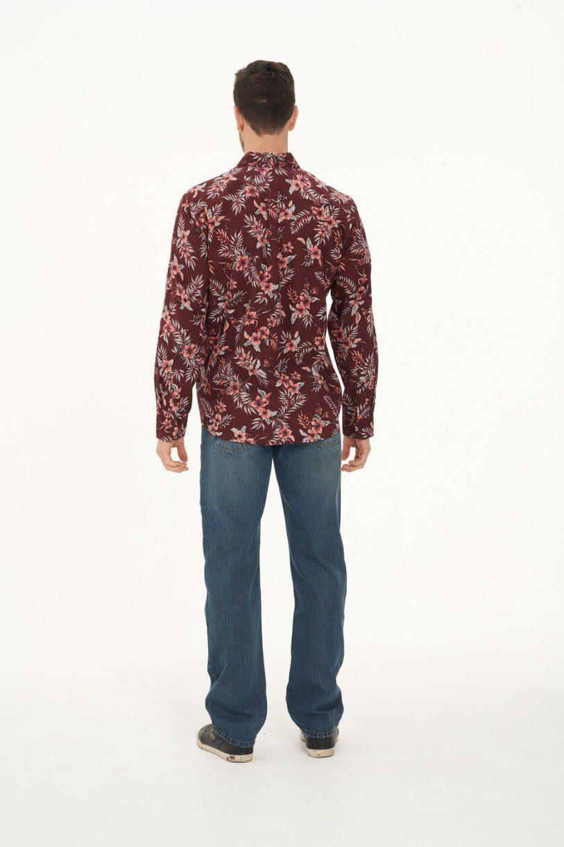 Men's Hemp Cotton Long Sleeve Floral Shirt