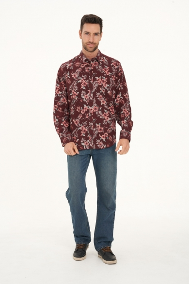 Men's Hemp Cotton Long Sleeve Floral Shirt