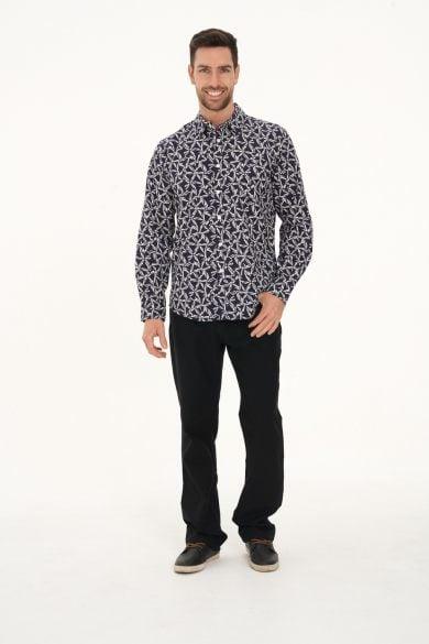 Men's Hemp Cotton Print Long Sleeve Shirt-Navy