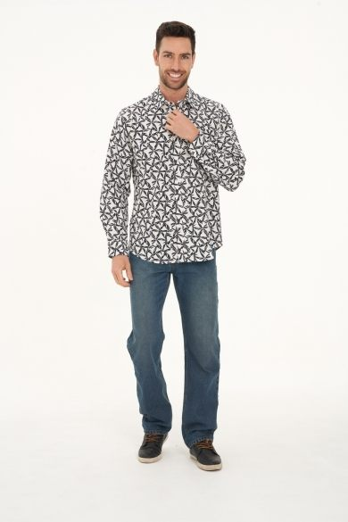 Men's Hemp Cotton Print Long Sleeve Shirt-White