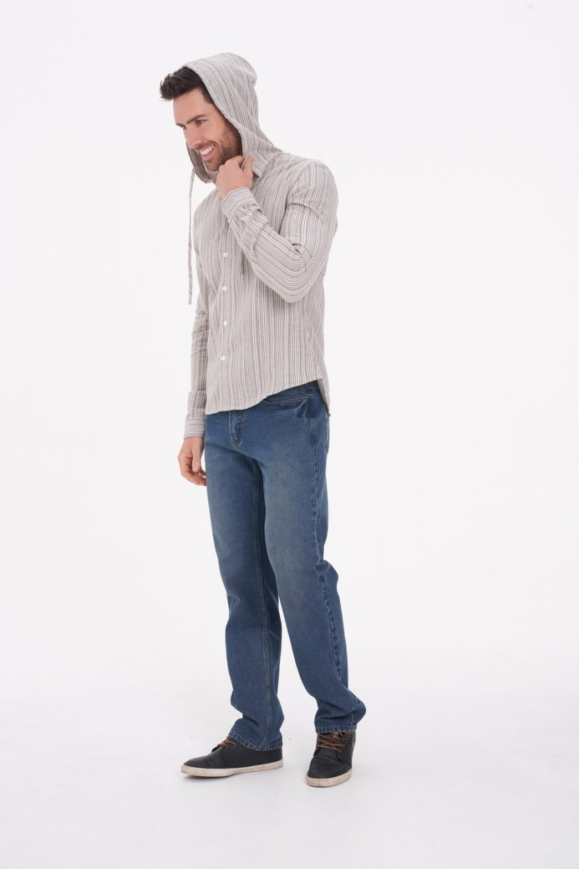 Men's Hemp Cotton Long Sleeve Stripe Shirt With Hood