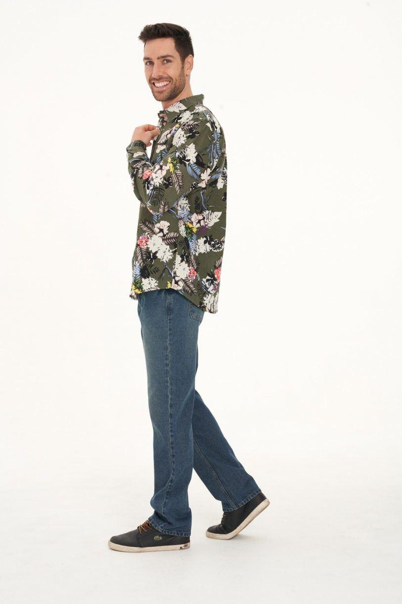 Men's Hemp Cotton Floral Long Sleeve Shirt