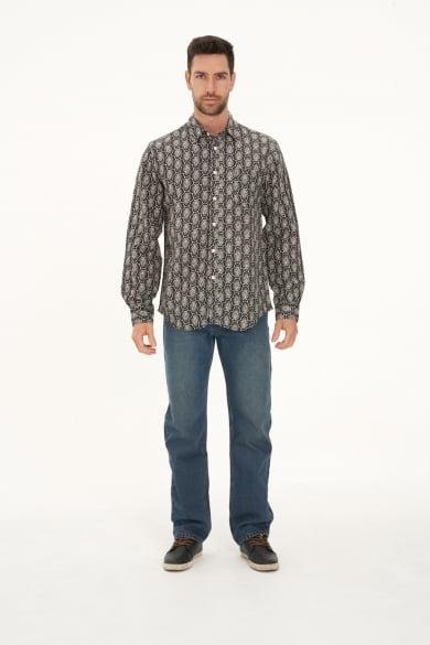 Men's Hemp Cotton Long Sleeve Geometric Print Shirt-Black
