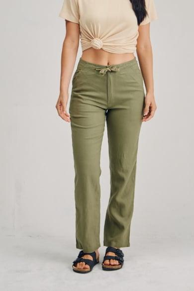 Ladies 100%Premium Hemp Drawstring Beach Pants - Khaki