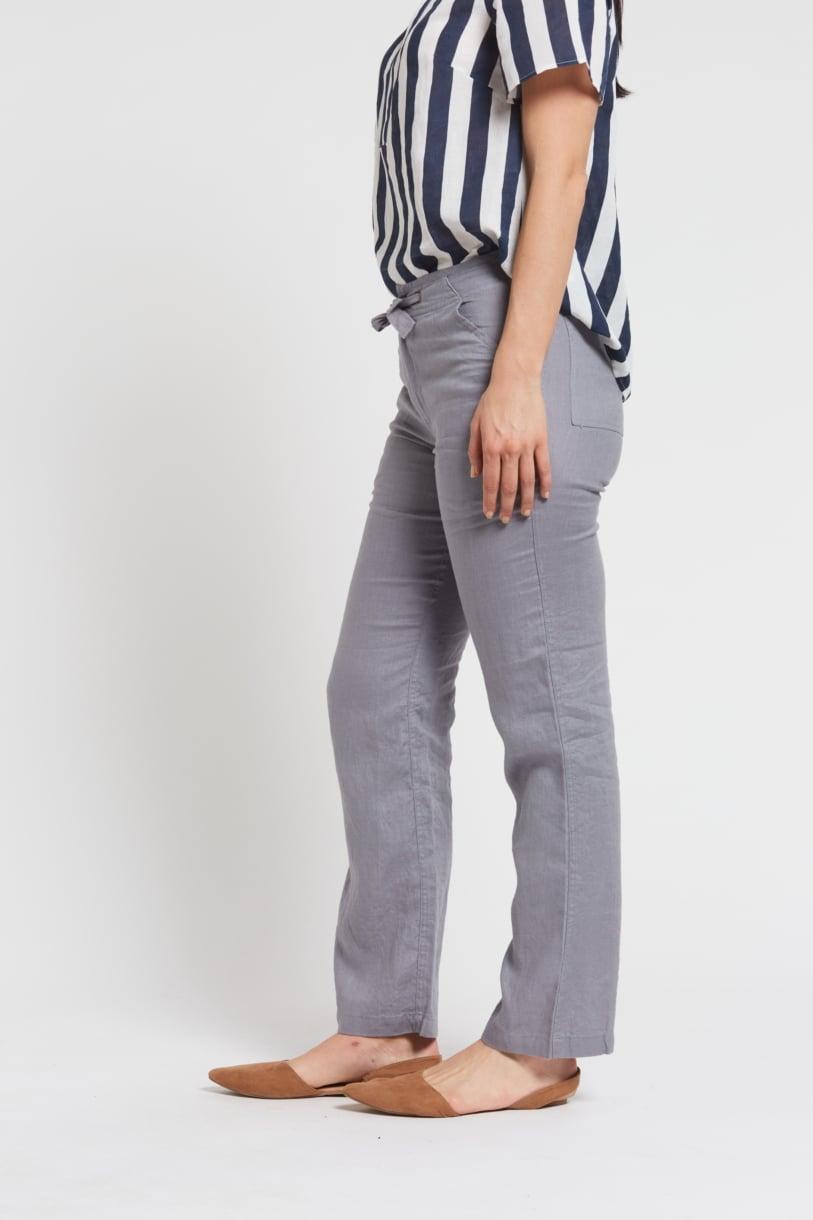 Ladies 100% Hemp Drawstring Beach Pants-Grey