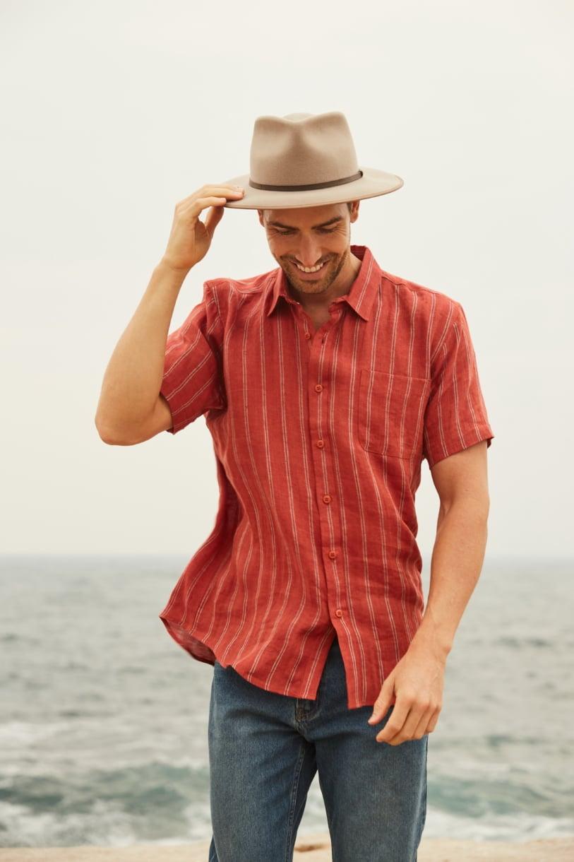 Men's 100%Hemp Stripe Short Sleeve Shirt-Red Clay