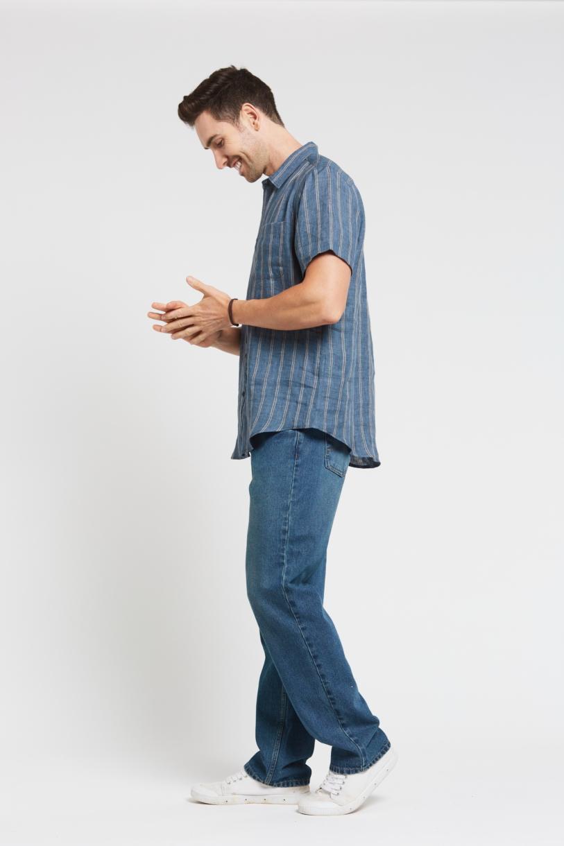Men's 100%Hemp Stripe Short Sleeve Shirt-Blue