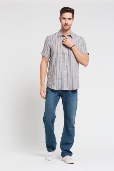 Men's 100%Hemp Stripe Short Sleeve Shirt-Grey