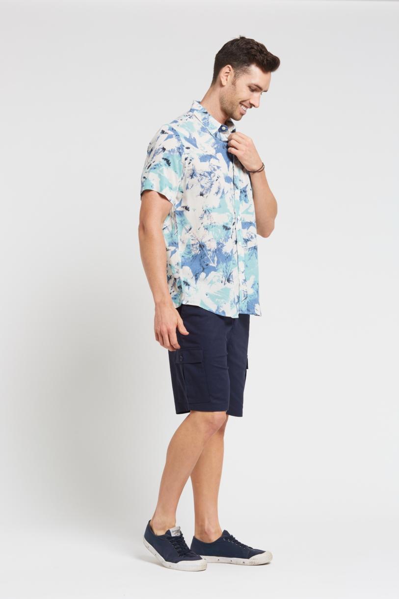 Men's Hemp Bamboo Print Short Sleeve Shirt-Blue