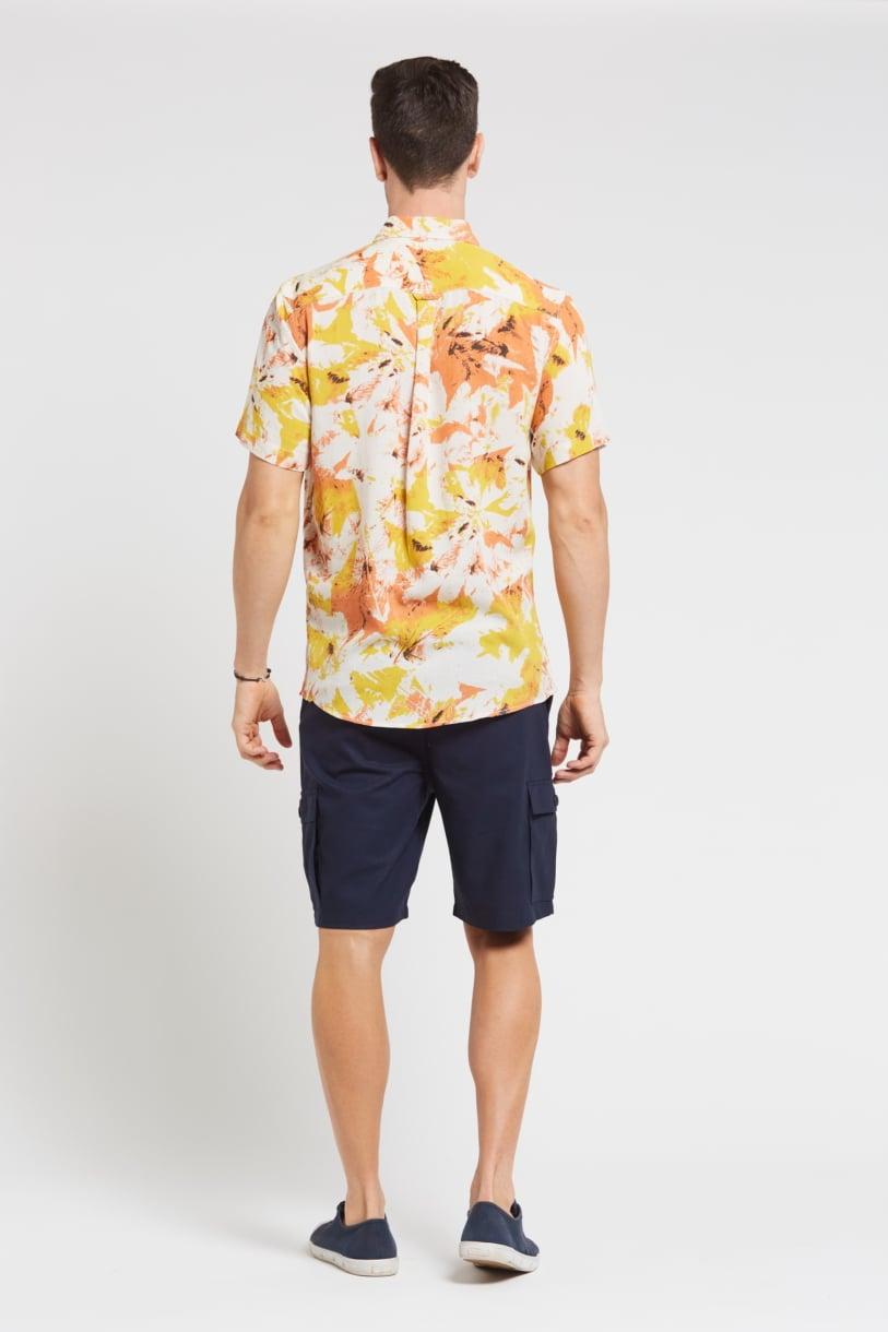 Men's Hemp Bamboo Print Short Sleeve Shirt-Yellow