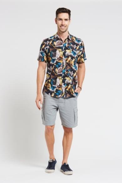 Men's Hemp Cotton Print Short Sleeve Shirt-Blue