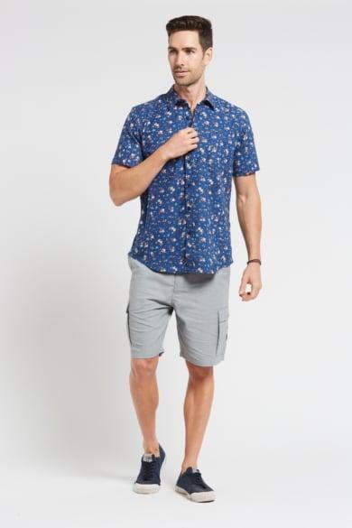 Men's Hemp Cotton Floral Short Sleeve Shirt-Blue