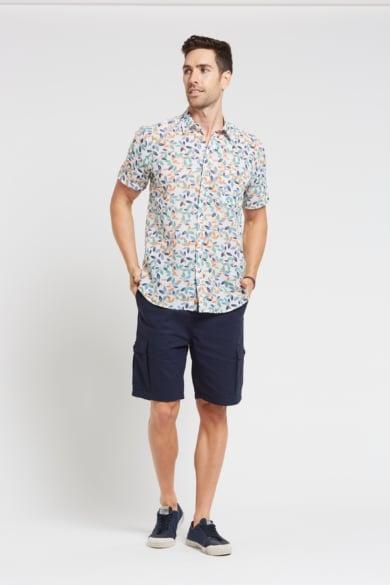 Men's Hemp Cotton Floral Leaf Short Sleeve Shirt-Blue Orange