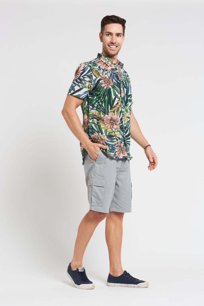 Men's Hemp Bamboo Jungle Short Sleeve Shirt-Green