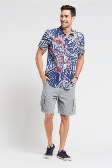 Men's Hemp Bamboo Jungle Short Sleeve Shirt-Navy