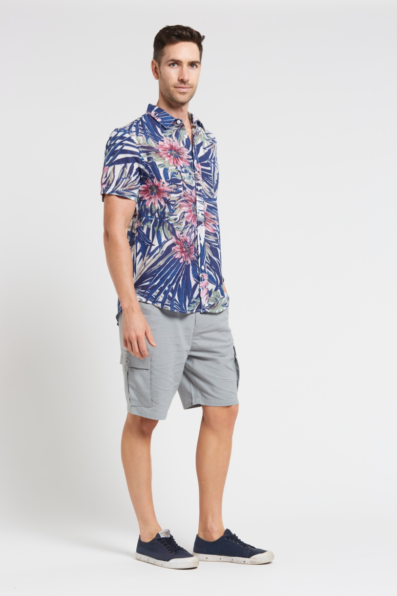 Men's Hemp Bamboo Jungle Short Sleeve Shirt-Navy