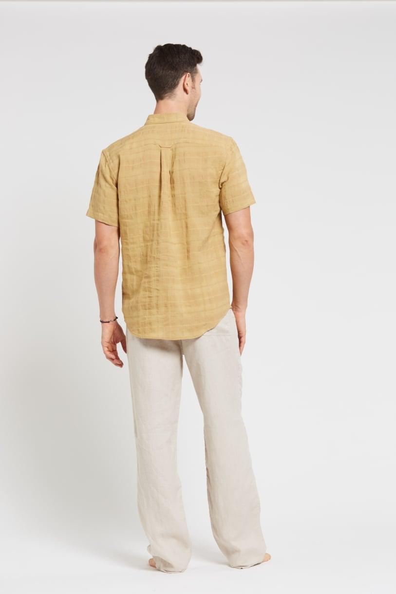 Men's 100%Hemp Short Sleeve Shirt-Mustard