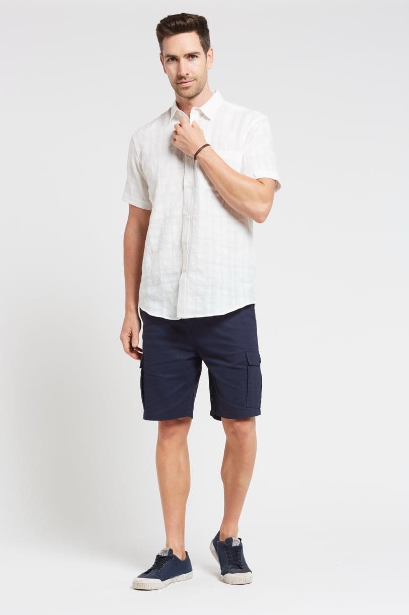 Men's 100%Hemp Short Sleeve Shirt-White