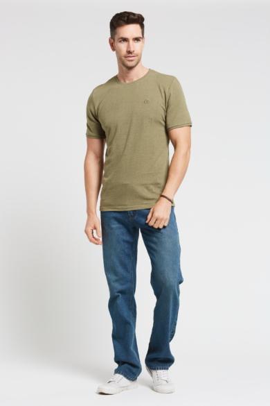 Men's Hemp Cotton Logo T Shirt-Green
