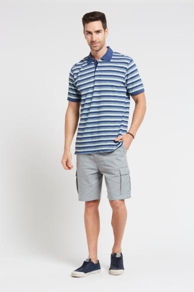 Men's Hemp Cotton Stripe Polo-Blue