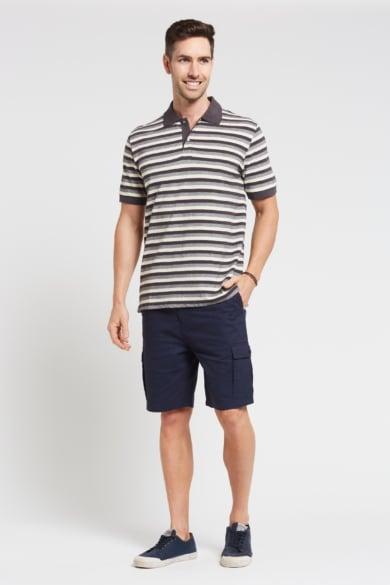 Men's Hemp Cotton Stripe Polo-Grey