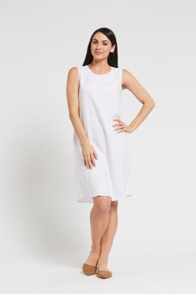 Ladies' 100% Hemp Sleeveless Dress-White