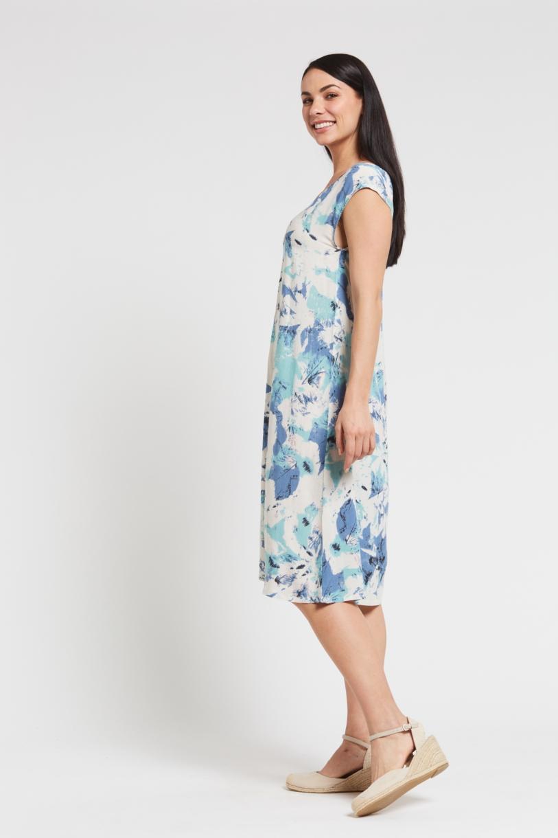 Ladies' Hemp Bamboo V Neck Print Dress-Blue