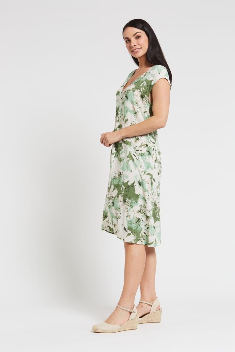 Ladies' Hemp Bamboo V Neck Print Dress-Green