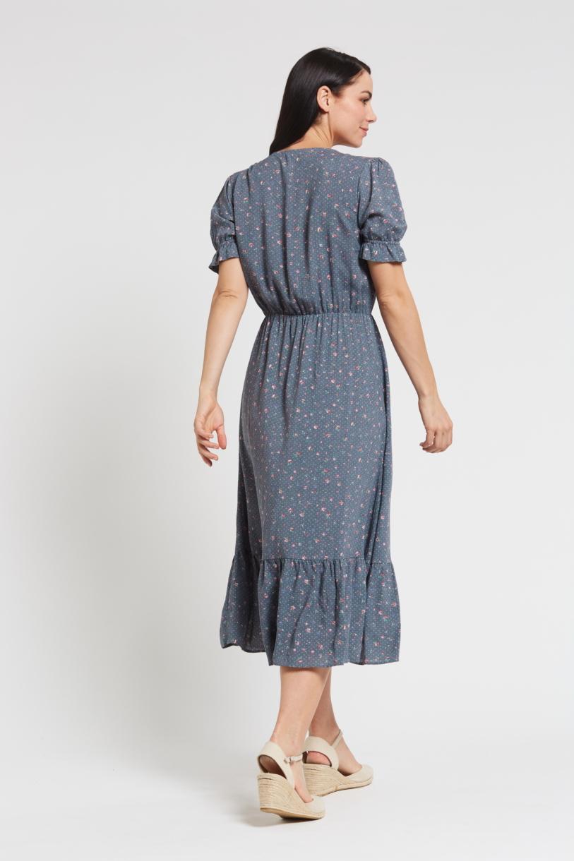 Ladies' Hemp Bamboo Maxi Floral Dress-Blue