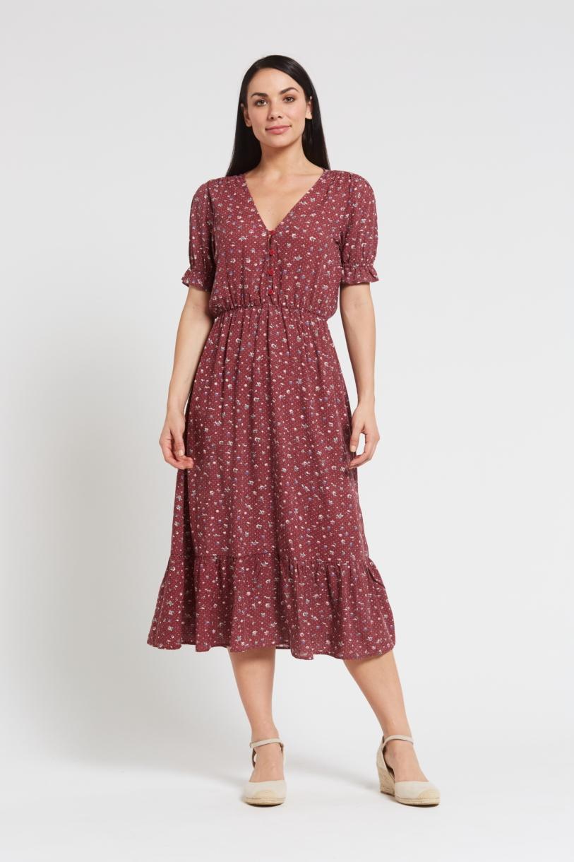 Ladies' Hemp Bamboo Maxi Floral Dress-Red