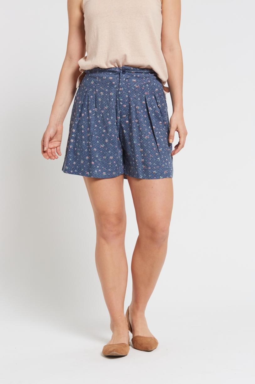 Ladies Hemp Shorts-Blue Floral