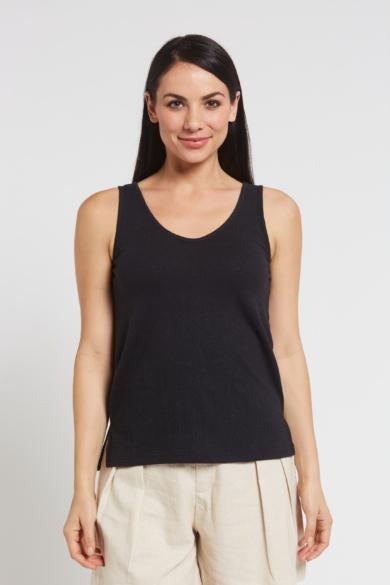 Ladies' Hemp Cotton Singlet-Black