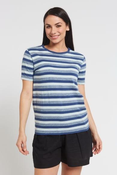 Ladies' Hemp Cotton Stripe Tee-Blue