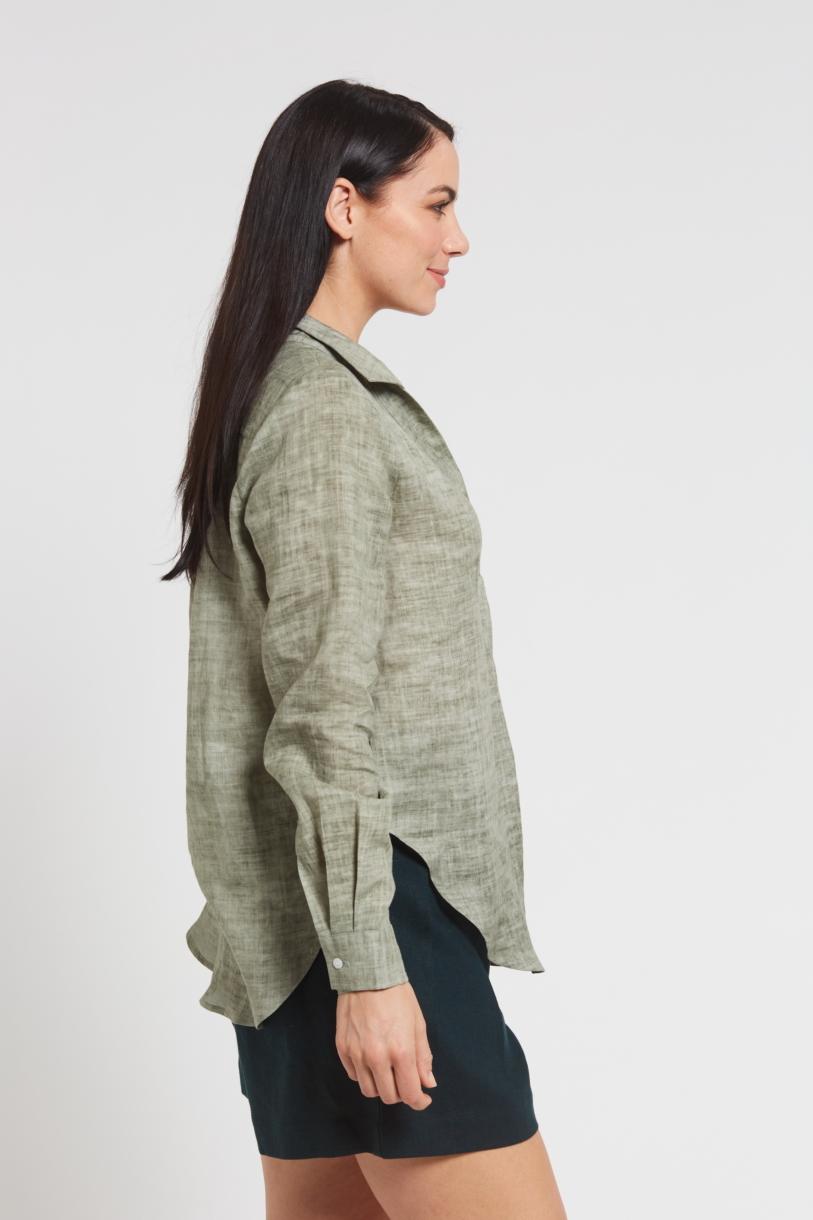 Ladies' 100%Hemp Blouse-Khaki