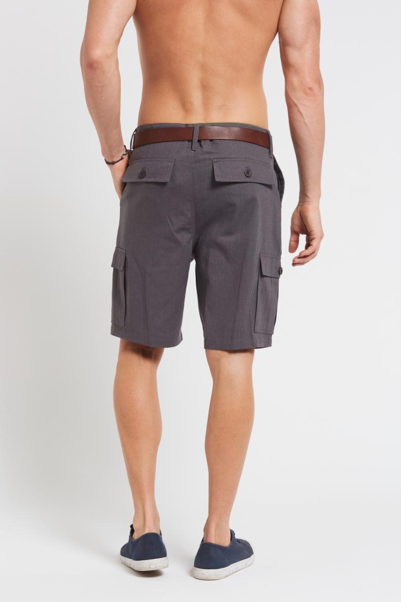 Men's Hemp Cotton Cargo Shorts-Dark Grey