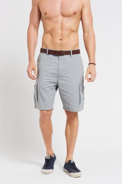Men's Hemp Cotton Cargo Shorts-Light Grey