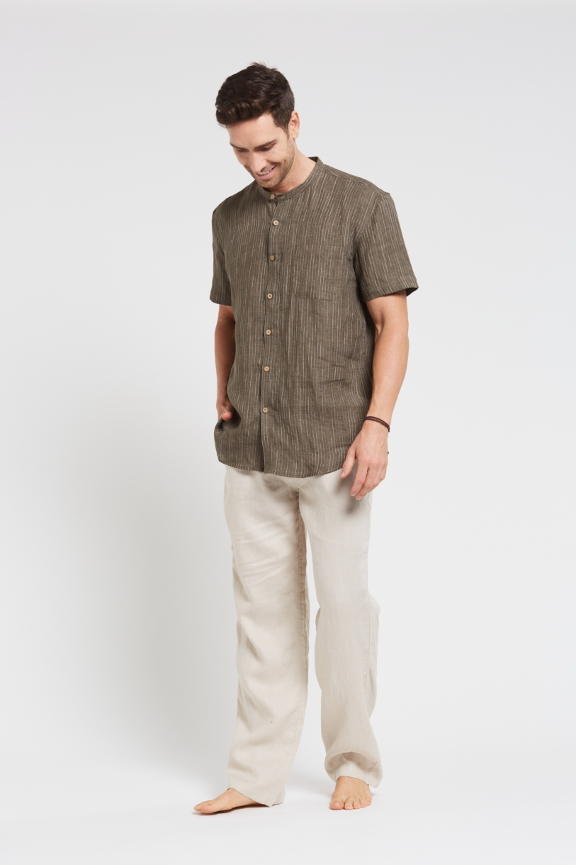 Men's 100%Hemp Pin Stripe Grandpa Short Sleeve Shirt-Khaki