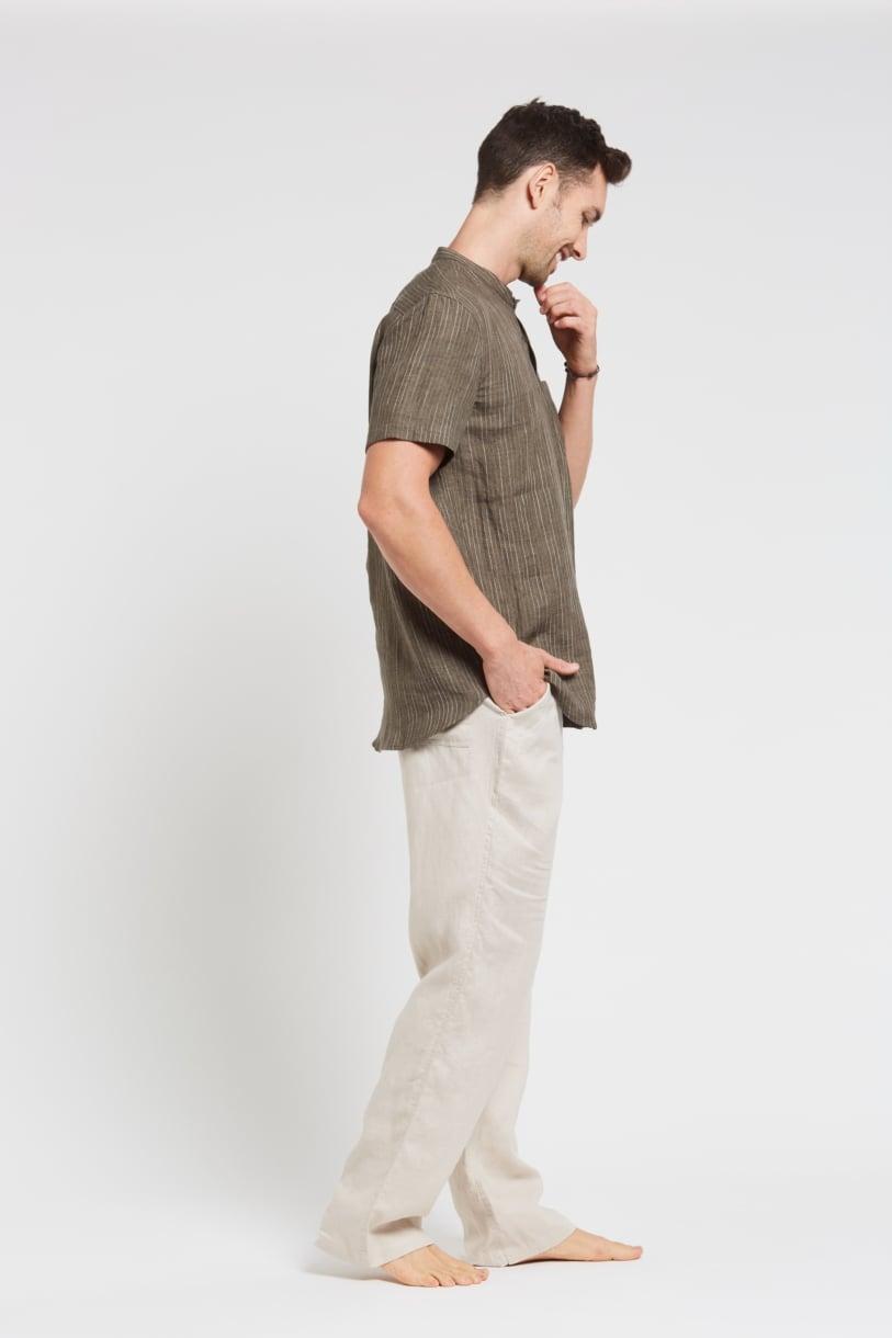 Men's 100%Hemp Pin Stripe Grandpa Short Sleeve Shirt-Khaki
