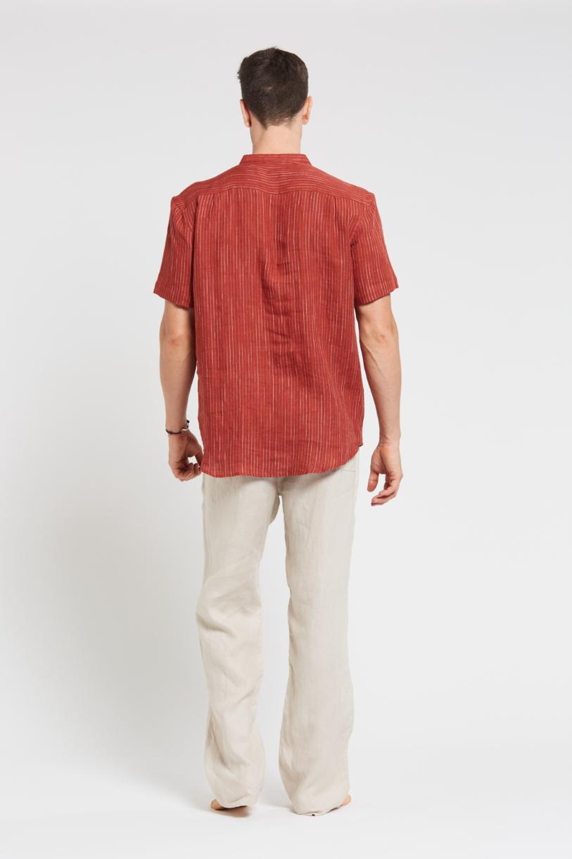 Men's 100%Hemp Pin Stripe Grandpa Short Sleeve Shirt-Red Clay