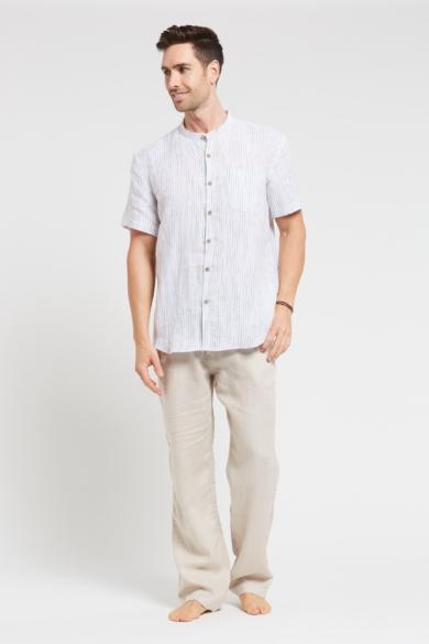 Men's 100%Hemp Pin Stripe Grandpa Short Sleeve Shirt-White