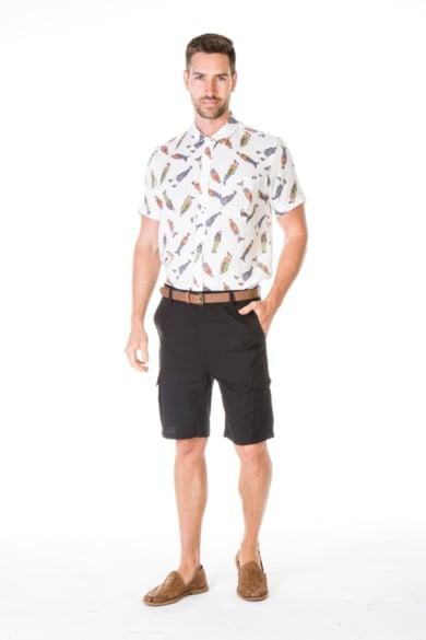 Men's Hemp Cotton Little Man Print Short Sleeve Shirt
