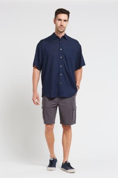 New Mens Hemp Rayon Relax Fit Short Sleeve Shirt-Navy
