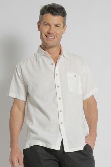 Men's Bamboo Cotton Soft Touch Short Sleeve Shirt-White