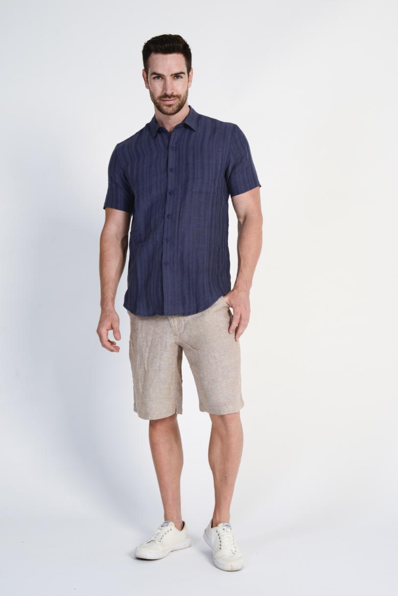 Men's 100%Hemp Stripe Woven Short Sleeve Shirt-Navy
